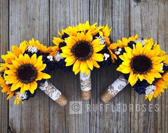 Sunflower bouquet etsy navy sunflower bouquet sunflower bouquet bridesmaid bouquet sunflower bridesmaid bouquet junglespirit Images