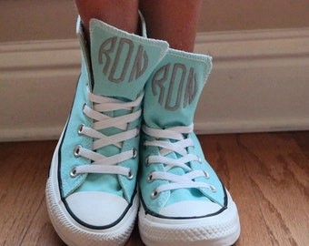 70af2fe84ad1e0 Monogrammed High Top Converse Shoes