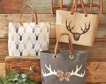 PREORDER Mudpie Burlap Bags Deer Dashforward Totes