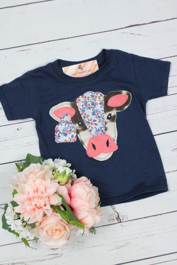 BEST SELLER Shabby Chic Cow Applique Graphic T Shirt Toddler Girls Infant Baby Farm Rodeo Cowgirl Personalized Must Have Coral Floral Ruffle