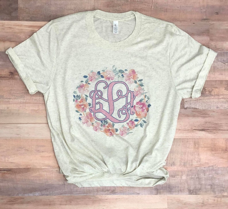 f5b04a0162a89 Personalized Floral Initial Sublimation Unisex Tee Floral Monogram Graphic  Tee Bella-Canvas Unisex Brand Tee dashforward Boho floral tee