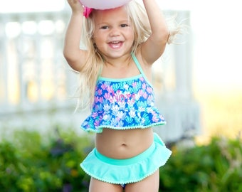 Monogrammed Bikini, Toddler Bathing Suit, Baby Girl Swim Suit, Mermaid, Initials, Mermazing