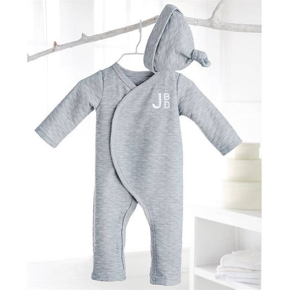 de99bb5f5 Monogrammed Grey Quilted Set Newborn Outfit Hospital Outfit
