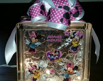 Minnie Mouse Lighted Glass Block Nightlight Decoration