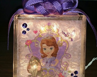 PRINCESS SOFIA the First Nightlight Lighted Glass Block and Decoration / Princess Sophia the First Nightlight