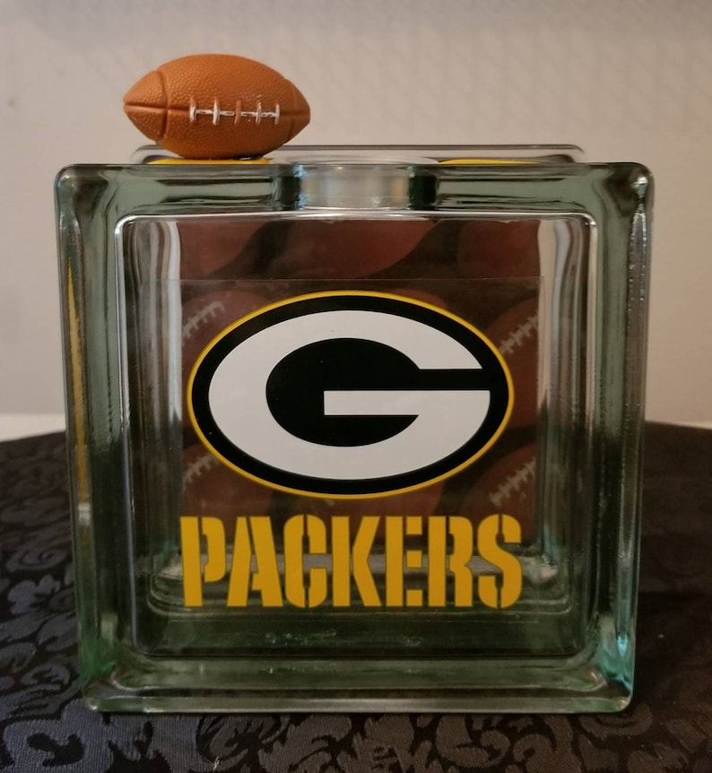 37b2d741 Glass Block Bank - GREEN BAY PACKERS Football Glass Block Coin/Piggy Bank
