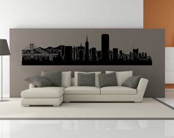 PREMIUM San Francisco California City Skyline Interior Wall Decal WITHOUT Lettering
