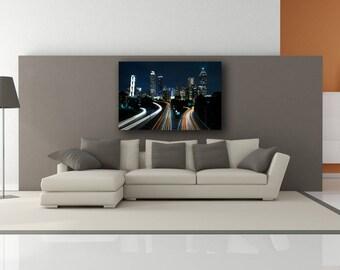 City Lights Buildings Cityscape Art Canvas Print ONLY (No Frame) -  Buildings Landscapes