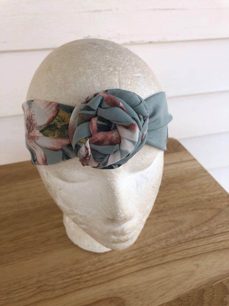Blue green rose knot headband