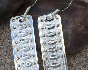 Solid silver large dangle earrings