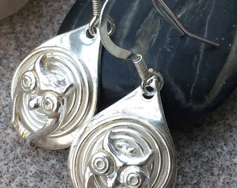 Solid silver drop owl earrings