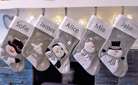 Grey Christmas Stockings Personalised.Silver Grey White Personalised Christmas Stockings Personalised With Any Name