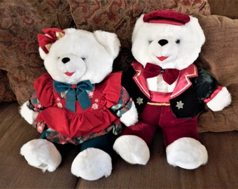 Bear Couple Snowflake Bears He and She White Polar Bears 23