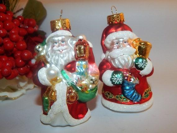 Santa Ornaments Art Glass Christmas Tree Decorations Set of  ab3cc209c3a9
