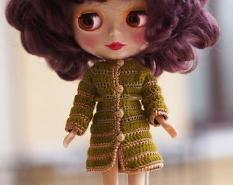 1/6 size momoko, Ruruko, Dollfie, Blythe, AZONE, obitsu doll, olive coat Crochet, outfit for 1/6 doll collectable, Tiny Doll 8 in clothes