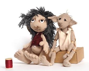 gnome crochet pattern Set,  Doll amigurumi tutorial ENGLISH, e-book  fantasy creatures, art doll, elf, troll, Goblin, monster magic toy