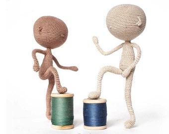 base model little doll, crochet tutorial German, amigurumi doll body pattern, step by step, e-book Pattern art doll, stuffed doll body