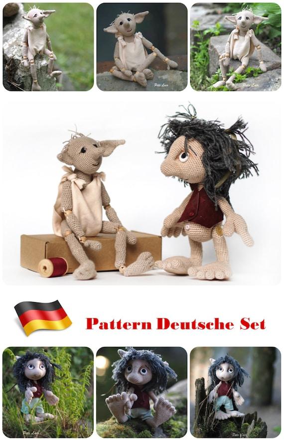pattern crochet doll tutorial GERMAN Set Goblin & elf   Etsy