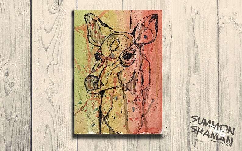 26fa88922 Watercolor deer painting. Nature print of doe. Abstract | Etsy