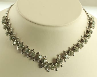Rhinestone Choker Necklace Made in Czech