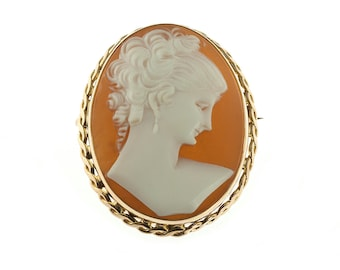 SALE--10K Gold Shell Cameo Brooch