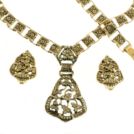 Gold Plated Floral 3 Piece Set - image 2