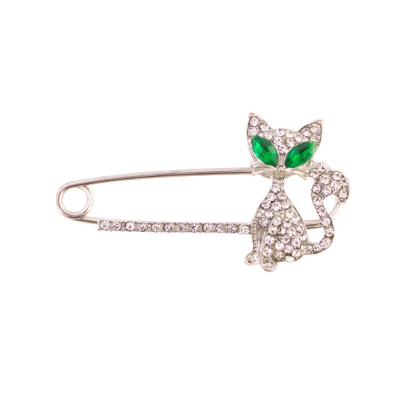Rhinestone Kitty Safety Pin