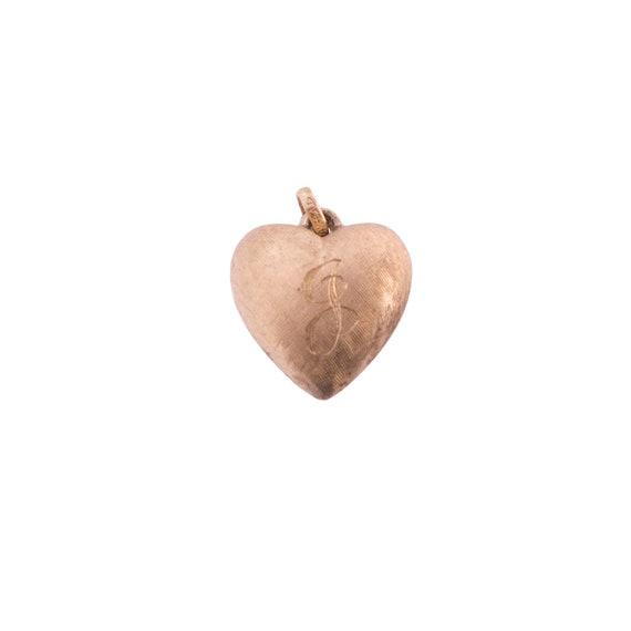 14K Gold Puffed Heart J Charm