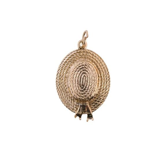 14K Gold Straw Hat Charm