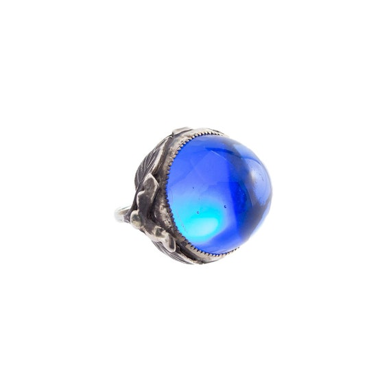 1920's Blue Glass Domed Ring