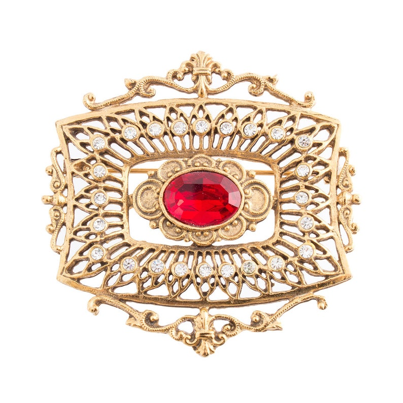 Gold Plated Ornate Frame Style Brooch