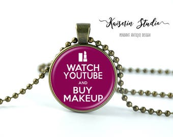 Watch Youtube And Buy Makeup pendant, Handmade jewelry necklace, best price and fast shipping.