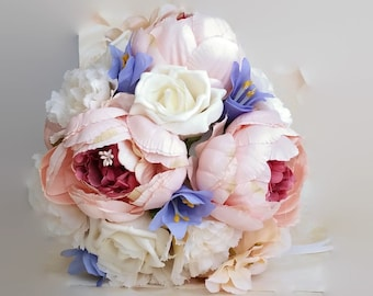Vintage pink peonies, wedding bouquet, peony bridal bouquet, shabby chic, boho chic, artificial flowers, silk flowers, wedding flowers
