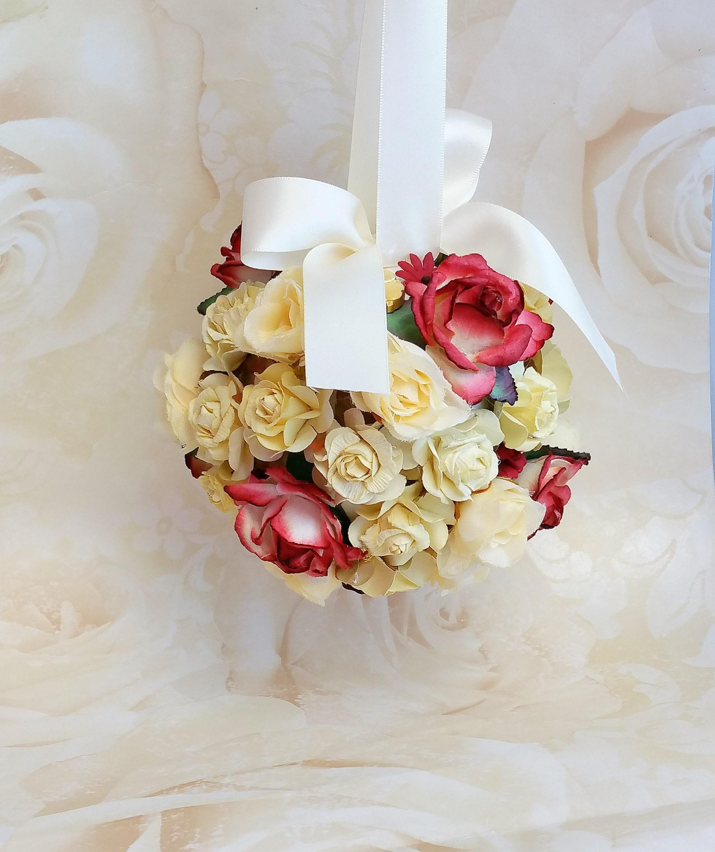 Ivory Flower Ball: Burgundy And Ivory Pomander Flower Girl Kissing Ball