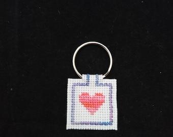 Cross Stitch Heart Keyring