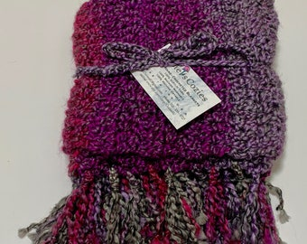 Chunky Crochet Infinity Scarf Knotted Fringe // Magenta, Purple & Gray