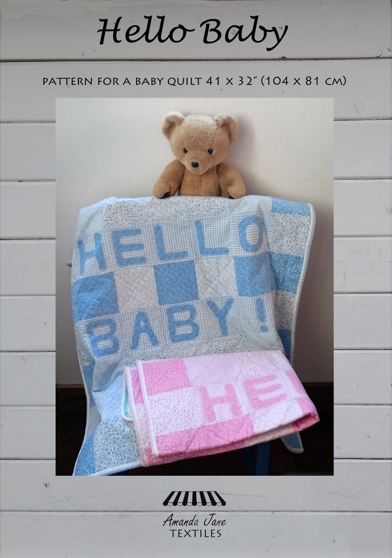 digital pattern baby quilt: 'Hello Baby' instant image 0