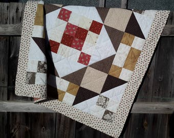 PDF lap quilt/throw, beginners quilt pattern: 'The One Hundred Quilt', (one hundred pieces) by Amanda Jane Textiles, instant download