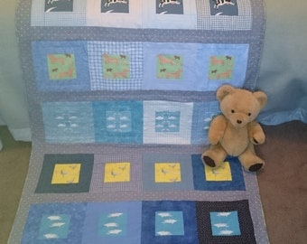 PDF cot quilt, beginners' quilt pattern: 'Dachshunds and Dolphins', by Amanda Jane Textiles, instant download