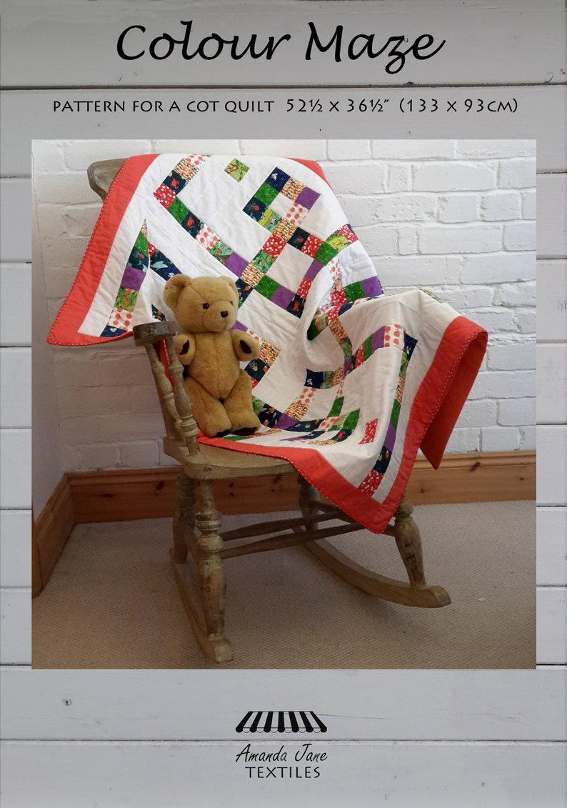 digital pattern baby quilt: 'Colour Maze' instant image 0