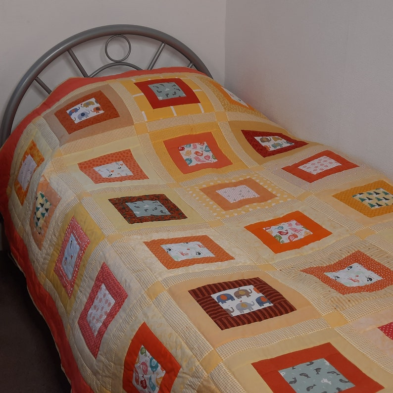 Quilt pattern: single twin bed squares novelty prints image 1