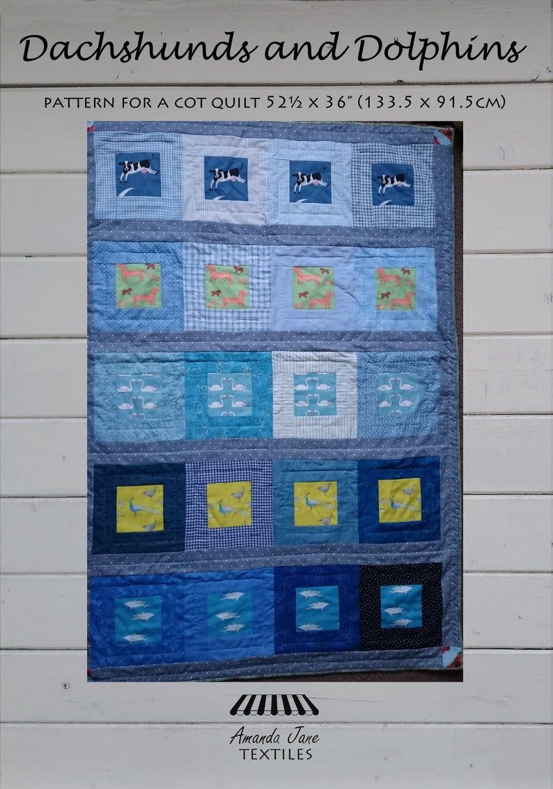 digital pattern  baby quilt: 'Dachshunds and image 0