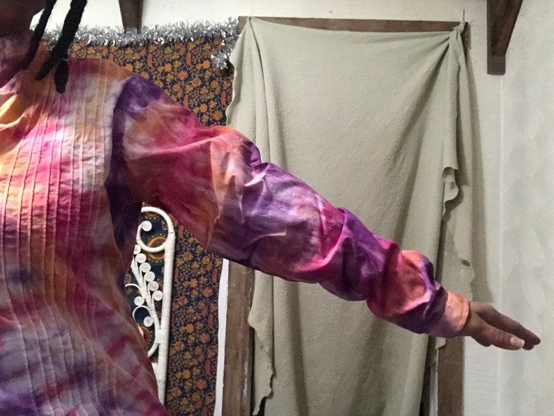 Purple /& Orange Tie Dyed Unisex Blouse Upcycled Small  Medium Long Sleeve Red
