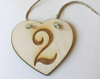 Table numbers - wood engraved numbers 1-10