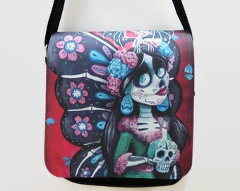 03da53993c5c Sugar Skull Fairy Shoulder Bag   Sugar Skull Bag   Gothic Shoulder Bag    Sugar Skull Gifts   Day of the Dead   Quality Shoulder Bag