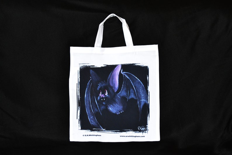 Grey Bat Tote Bag  White Tote Bag  Gothic Tote Bag  Bat Gifts  Bat Bag  Quality Fine Art Tote Bag  Halloween Trick Or Treat Bag