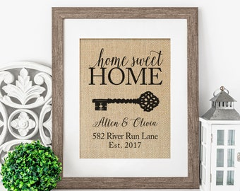 New /'Home Sweet Home/' Glass Print Hanging Wall Plaque Gift Present Homeware
