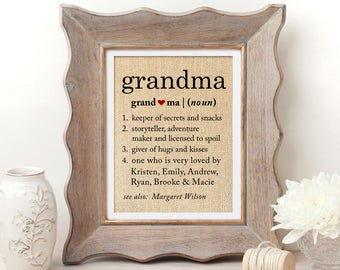 Definition of Grandma Gift for Grandmother Gift Mothers Day Gift for Grandma Gifts for Grandma Definition Gifts for Grandma Birthday Gift