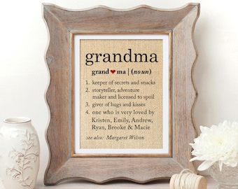 Definition Of Grandma Gift For Grandmother Mothers Day Gifts Birthday