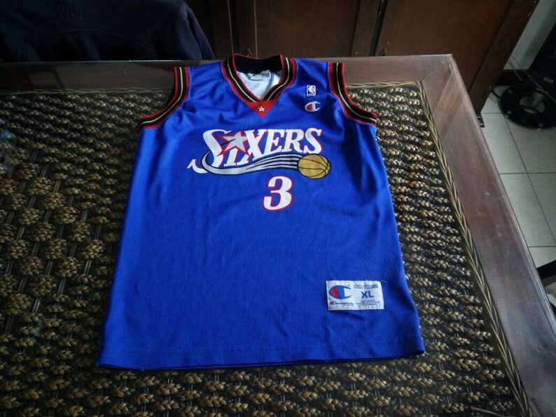 the latest 59002 2e67c Rare vintage 1996 Iverson #3 Philadelphia 76ers blue jersey by Champion USA